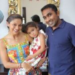 Mahela Jayawardene with his wife and daughter