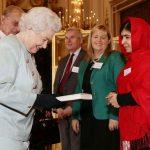 Malala Yousafzai with Queen Elizabeth