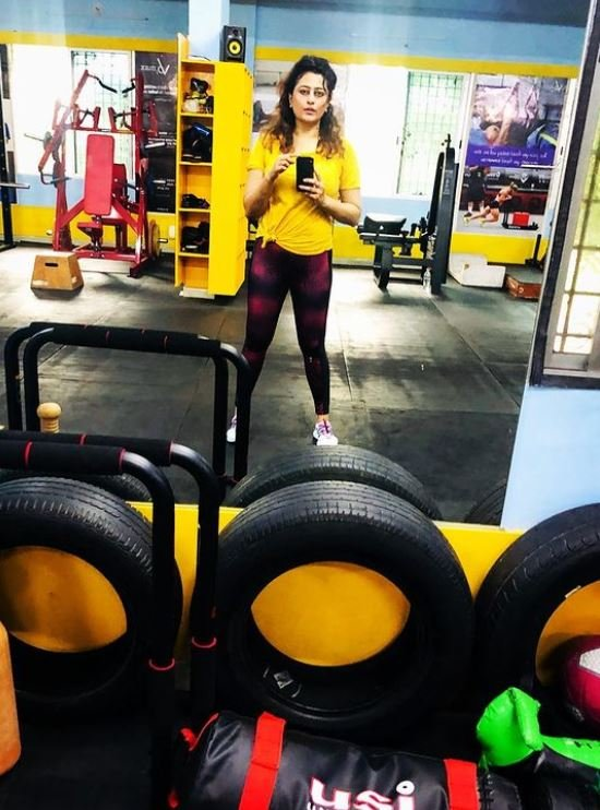 Nidhi Subbaiah inside the gym
