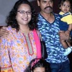 Trupti Jadhav with her husband and daughters