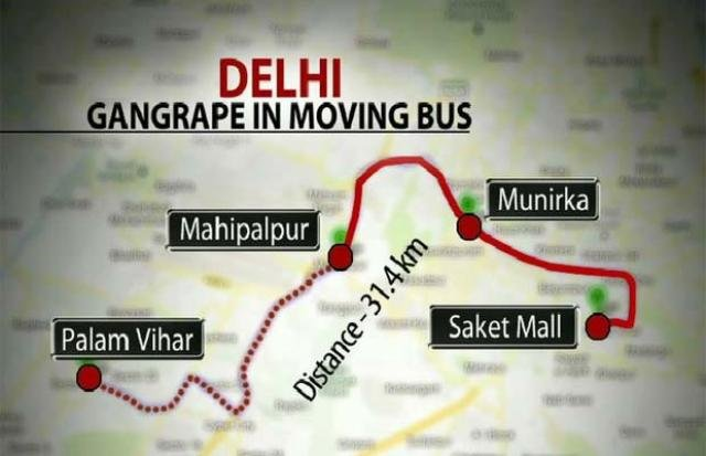 Delhi Gang Rape Bus Route