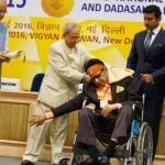 Manoj Kumar receiving Dada Saheb Falke Award from President