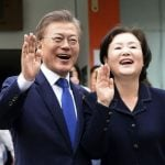 Moon Jae-in with his wife