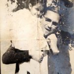 Natasha Rastogi (Childhood) with her father Triloki Nath Khanna