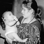 Rajni Tendulkar with baby Sachin Tendulkar