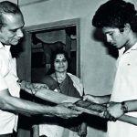 Rajni Tendulkar with her husband and Sachin Tendulkar