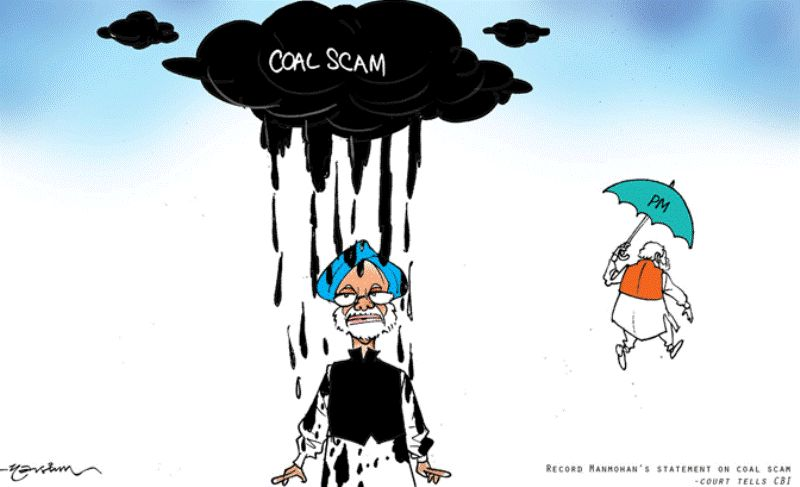 A Caricature of Manmohan Singh of Coal Scam