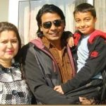 Biraj Bhatta with his wife and son