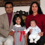 Harish Mysore with his wife & children
