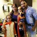 Khesari Lal Yadav with his wife and children