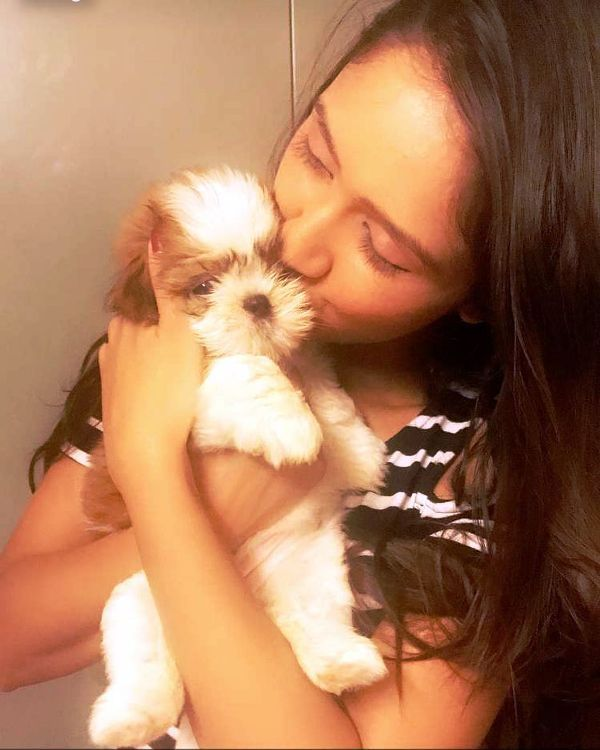 Krissann Barretto with Her Pet Dog