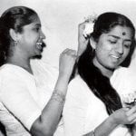 Lata Mangeshkar(right) and Asha Bhosle(Left) in childhood