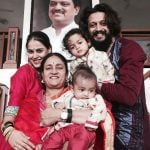 Riteish Deshmukh with his mother, wife and children