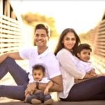 Aditya Rai with his wife and sons