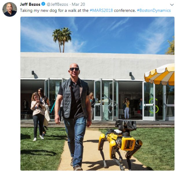 Jeff Bezos With His Robotic Dog