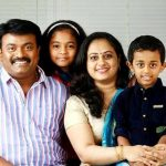 Kalabhavan Shajohn with his wife and children