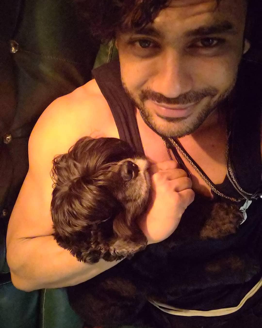 Vishal Aditya Singh with his dog
