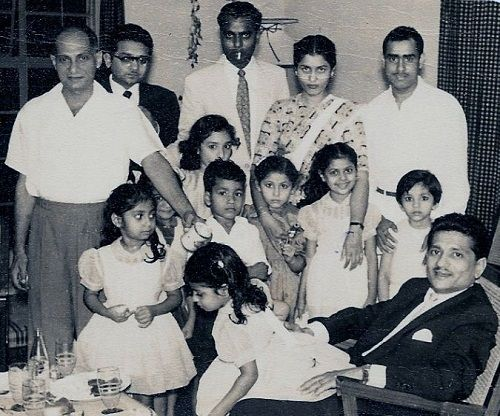 An old photo of Shashikala with her family (standing second from the left)