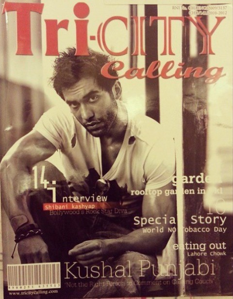 Kushal Punjabi on the cover of the Tri-city Calling Magazine