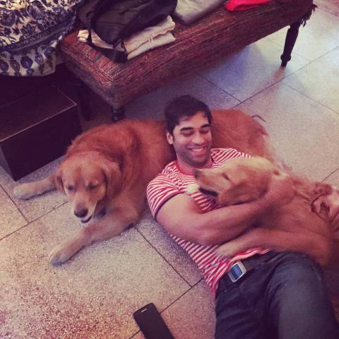 Kushal Punjabi with his pet dogs