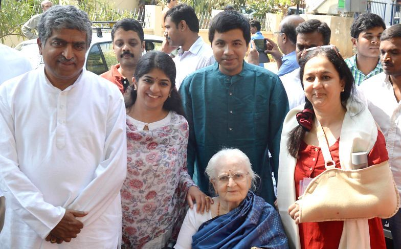 Nandan Nilekani with his mother, wife, daughter and son-in-law