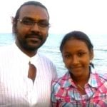 Raghava Lawrence with her daughter Raghavi