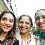 Purbi Joshi with her mother Sarita Joshi and sister Ketki Dave
