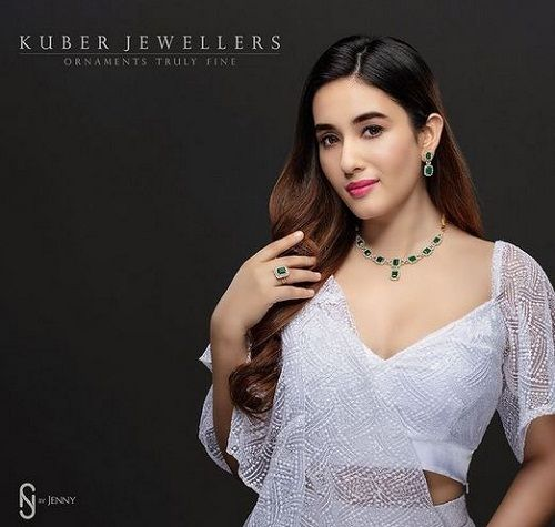 Aditi Budhathoki in a print advertisement of Kuber Jewellers