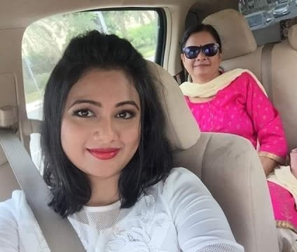 Archita Sahu with her mother