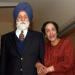 Indian Air Force Marshal Arjan Singh With His Wife
