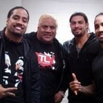 Jey and Jimmy Uso with their father Rikishi