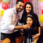 Kajal Pisal with her husband Abhijit Pisal and daughter Sara Pisal