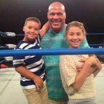 Kurt Angle with his son Kody and daughter Kyra