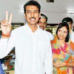 Rajyavardhan Singh Rathore with his wife