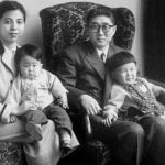 Shinzo Abe (in the lap of his mother) With His Parents And Brother Hironobu
