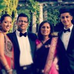 Akshay Ruparelia with his parents and sister