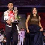 Paramveer Singh Cheema with Zareen Khan ramp walk after winning the title of MR India