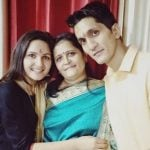 Radha Bhatt with mother and Brother