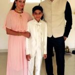 Chetan Hansraj with his wife Lavania Pereira and son Ethen