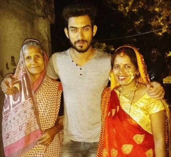 Jitesh Singh Deo with his mother (right) and grandmother (left)