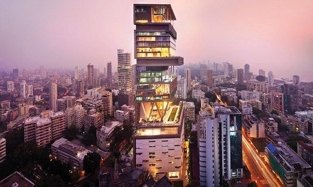 Mukesh Ambani's House At Night