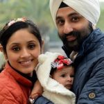 Pavleen Gujral with husband and daughter