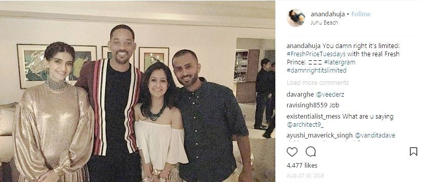 Sonam Kapoor and Anand Ahuja with Will Smith