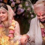 Virat Kohli and Anushka Sharma at their wedding