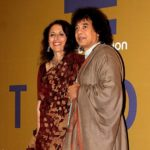Zakir Hussain With His Wife