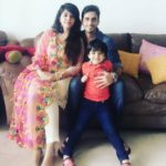 Waseem Mushtaq with his wife Ayesha and son Rayan