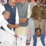 Jayant Sinha With Chief Minister of Jharkhand Raghubar Das Laying The Foundation Stone For Medical College At Pokhra Khurd, Daltonganj