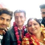 Karan Raj Sharma with his parents and brother Akash Raj Sharma