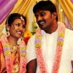 Karunakaran with his wife Thendral