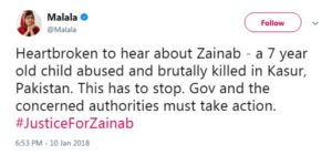 Malala Tweet on Zainab